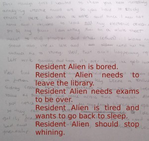 resident aline writes on paper example